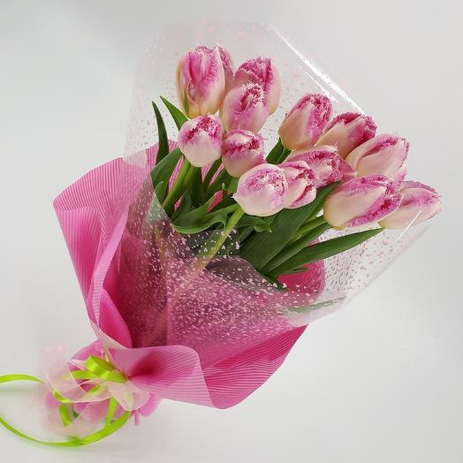 Розовая красота 15 розовых тюльпанов