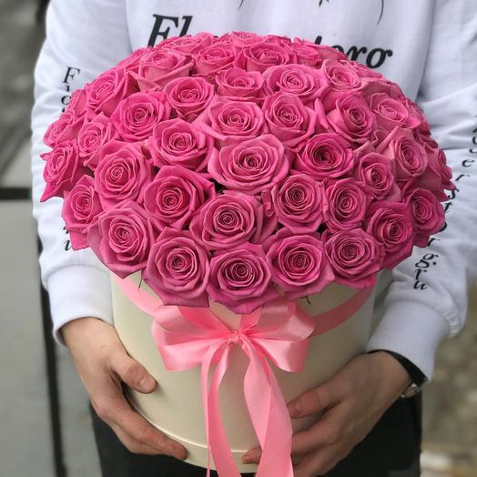 Коробка с цветами. Роза розовая. 51 роза. N406
