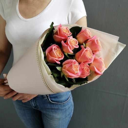 Букет из 9 ароматной розы Приглашение: букеты цветов на заказ Flowwow