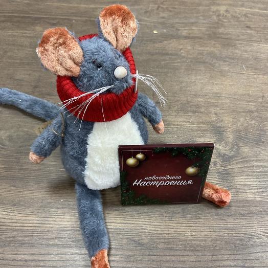 Супер стильный  Крыс ручной работы с шоколадной открыткой: букеты цветов на заказ Flowwow