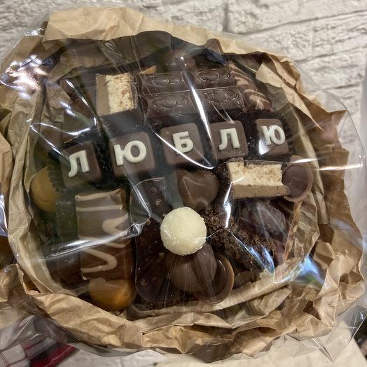 "Шоколадный букет ""Люблю"": букеты цветов на заказ Flowwow"