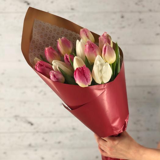 White-pink mix (15 tulips)