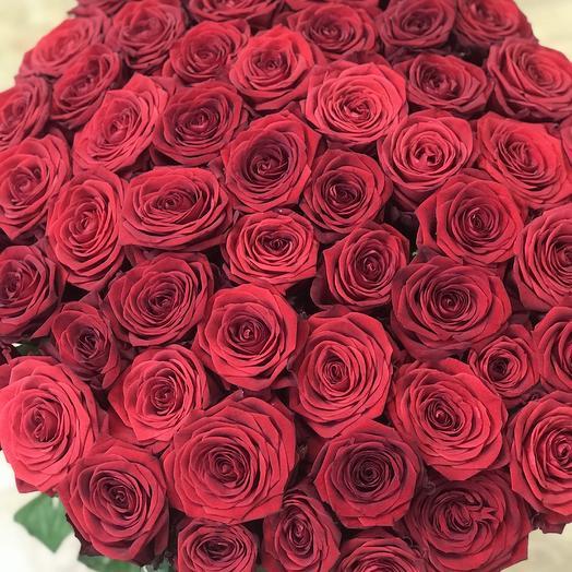 55 красных роз Премиум: букеты цветов на заказ Flowwow