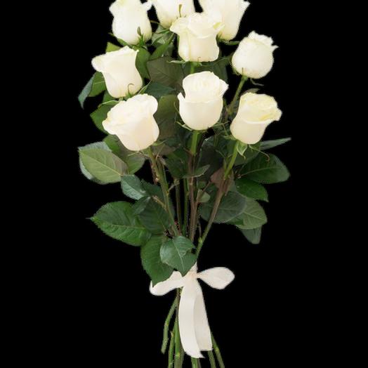 9 белых роз 40 см
