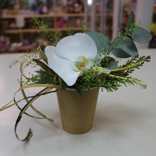 Кофейный стакан с орхидеей