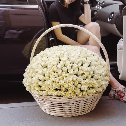 501 белая роза в плетенной корзине