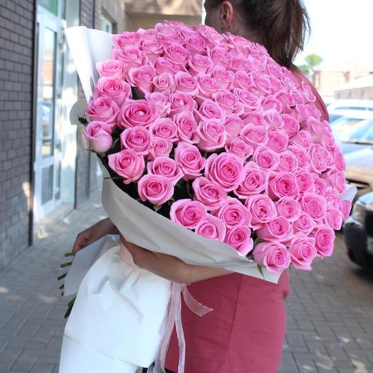 Букет розовых роз Ревиваль 101 шт