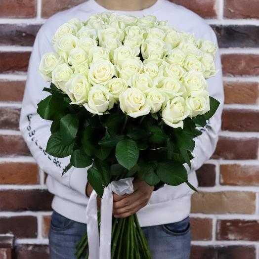 Букет роз 51  шт 70 см. Розы белые. N92