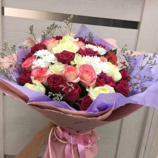 Хезер - Розы и Хризантемы Микс