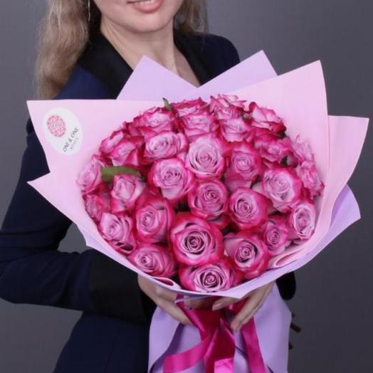 25 роз Дип Перпл премиум. Эквадор