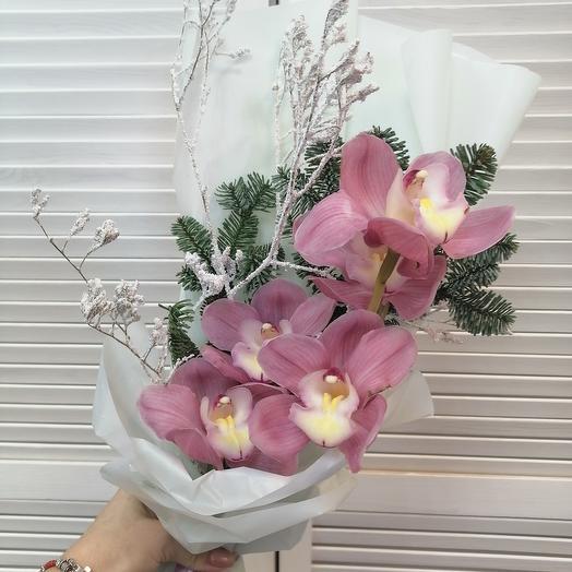 Веточка орхидеи с зимним декором 🥰