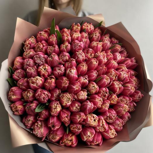 Букет из элитных пионовидных тюльпанов 101 шт