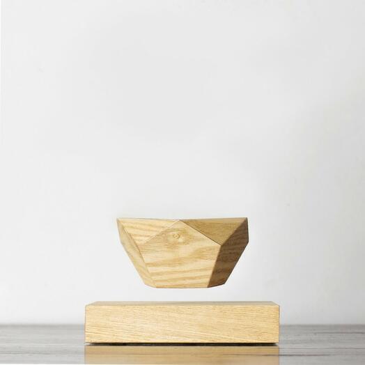 Левитирующий горшок LePlant Wood светлый (бонсай)