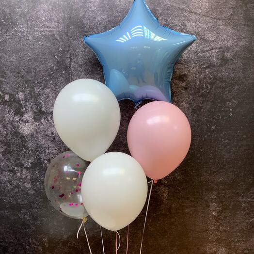 Набор из пяти воздушных шаров с фольгированной звездой и конфетти