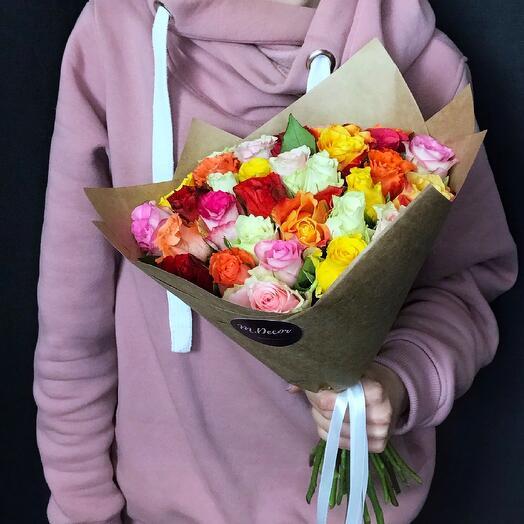 33 разноцветные розы 40 см