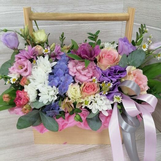 beautiful garden (ящик с кустовой пионовидной розой, гортензией)