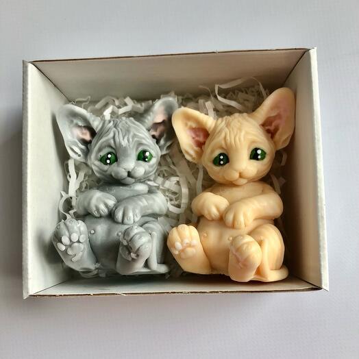 Мыло ручной работы набор котят сфинкс