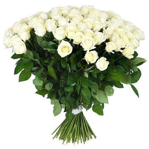 51 белая роза 80 см: букеты цветов на заказ Flowwow