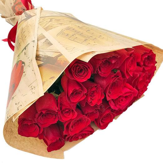 Букет из 25 красных голландских роз