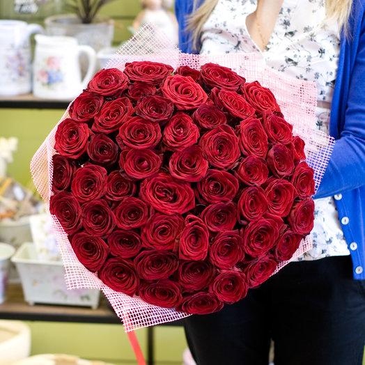 """Букет из 51-ой красной розы """"Аллые розы"""": букеты цветов на заказ Flowwow"""