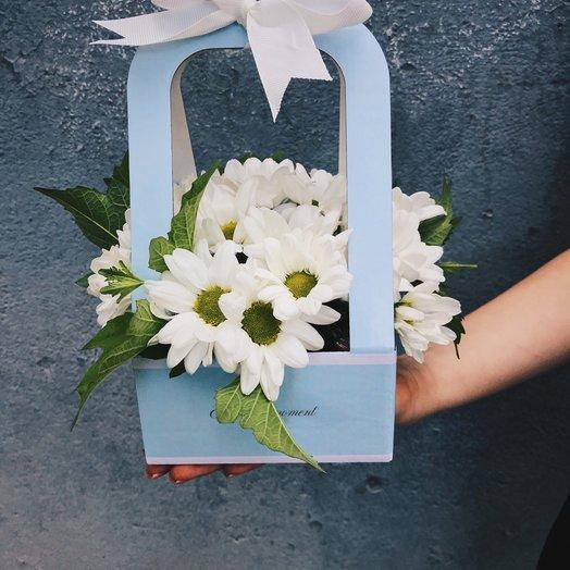 Коробочка из ромашковой хризантемы: букеты цветов на заказ Flowwow