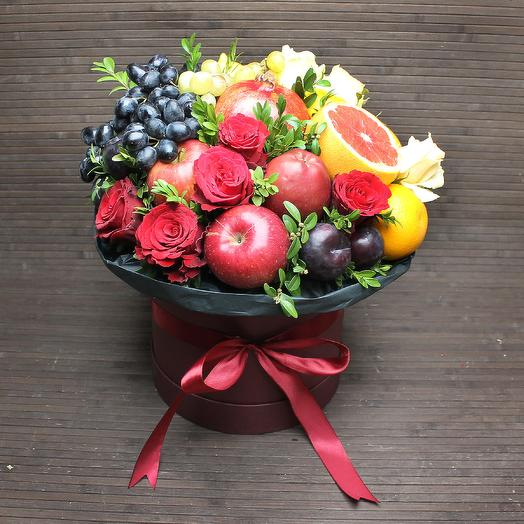 Фруктово-цветочный букет: букеты цветов на заказ Flowwow