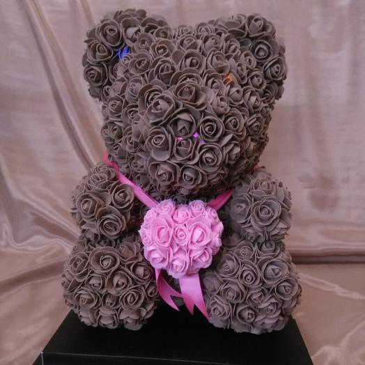 Мишка из роз с сердцем, светящийся: букеты цветов на заказ Flowwow