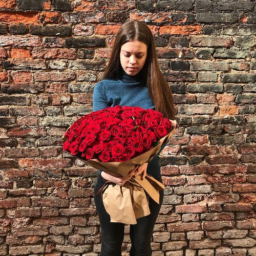 Букет из 101 бордовой розы: букеты цветов на заказ Flowwow