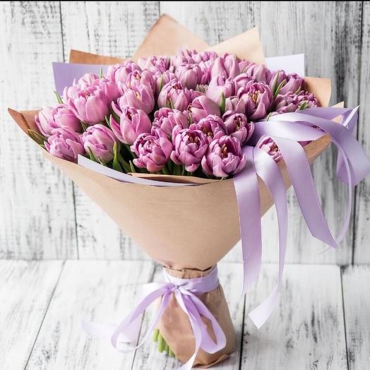 Букет из пионовидных тюльпанов 21 шт: букеты цветов на заказ Flowwow