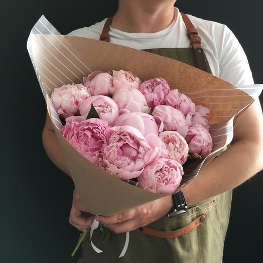 Пионы 15шт Сара Бернар: букеты цветов на заказ Flowwow