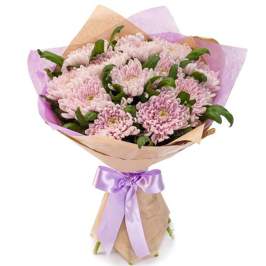 Букет хризантем в крафте: букеты цветов на заказ Flowwow