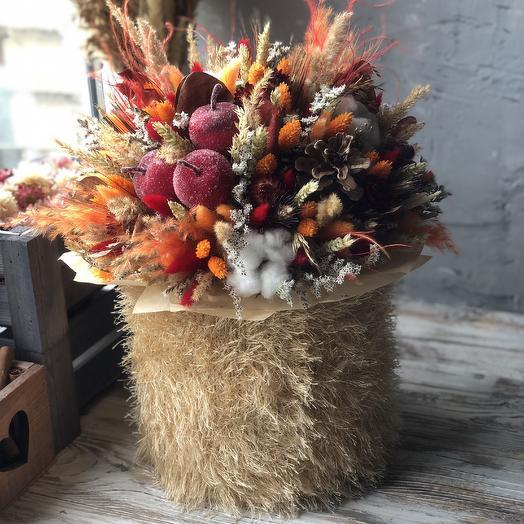 Интерьерная осенняя композиция в коробочке: букеты цветов на заказ Flowwow