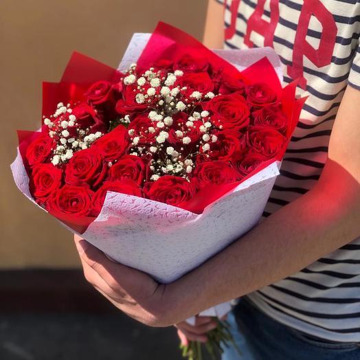 Розы в красивой упаковке 25 шт: букеты цветов на заказ Flowwow
