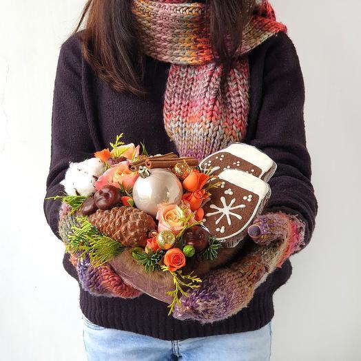 Новогодний подарок с печеньем ручной работы
