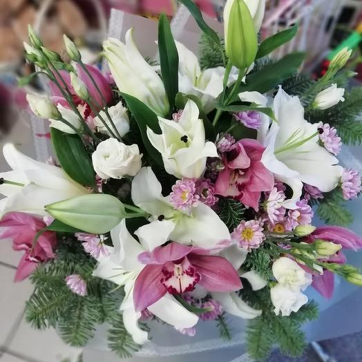 Лилии+орхидеи: букеты цветов на заказ Flowwow