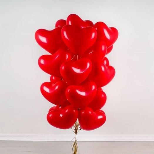 15 гелиевых шариков в форме сердца