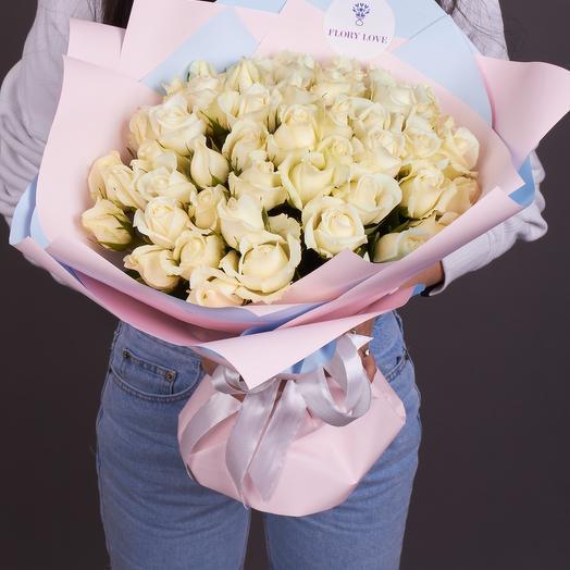 51 белоснежных роз Премиум