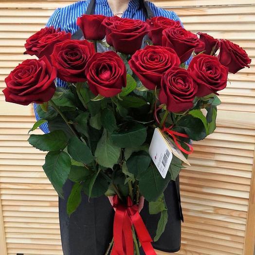 15 красных роз 80 см