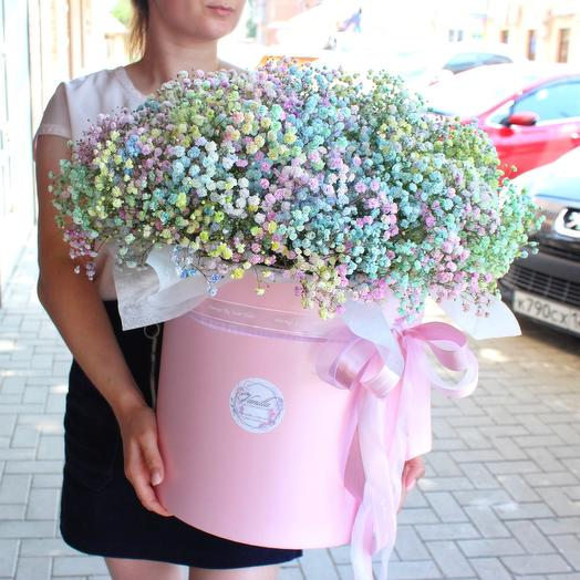 Iridescent gypsophila in a large cylinder