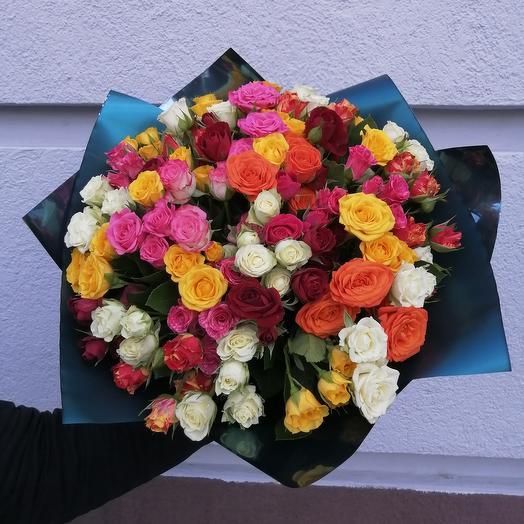 Роза кустовая 40 см 51 шт микс