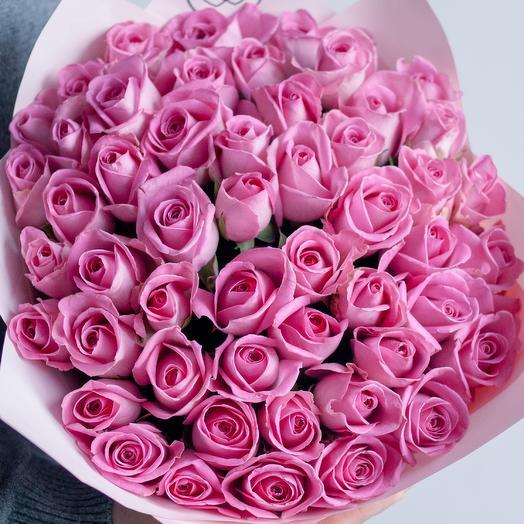 Букет из 51 розовой розы (Кения) 40 см Standart