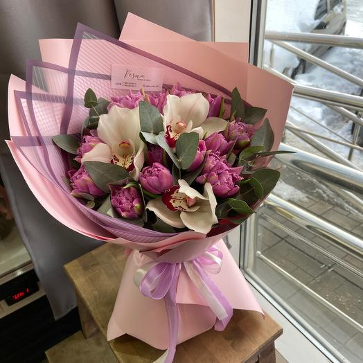 Букет с орхидеями/букет с тюльпанами/весенний букет/стильный букет