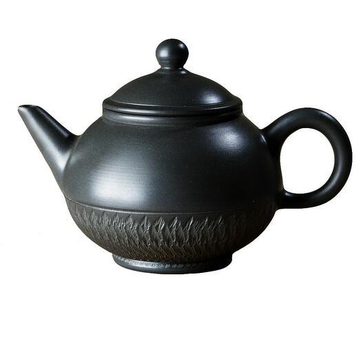 мастеровой чайник ручной работы, серая глина с резьбой, 200 мл, Тайвань 1 шт