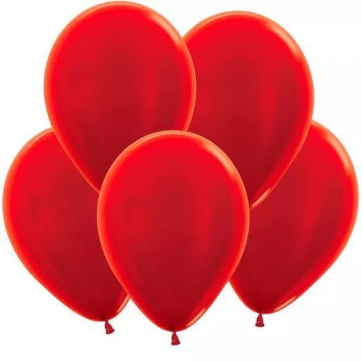Flowers Lovers - шар красный металлик с гелием 5 штук