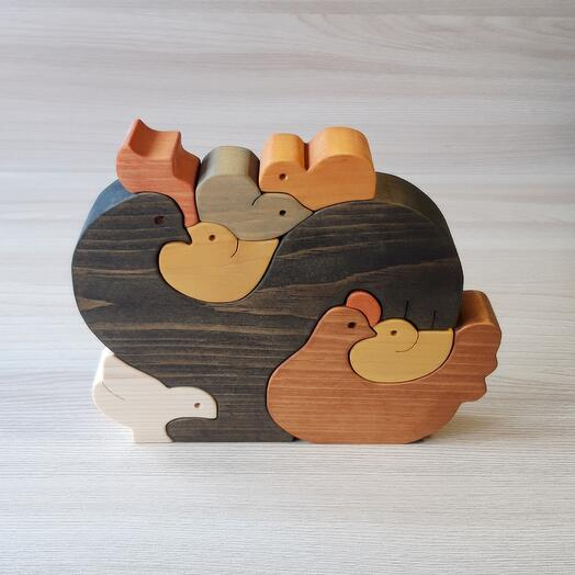 """Деревянный пазл из кедра ручной работы """"Куриная семья"""", 9 элементов"""