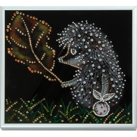 "Картина с кристаллами Swarovski ""Ёжик в тумане"""