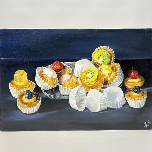 """Картина """"Пирожные маленькие"""" 40*60 см. масло, холст"""