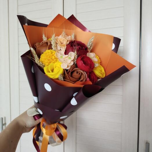 Осенний букет из мыльных цветов
