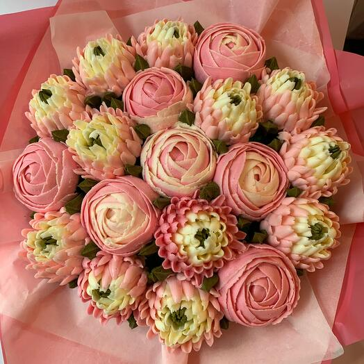 Delicious bouquet of 19 cupcakes: peonies and chrysanthemums