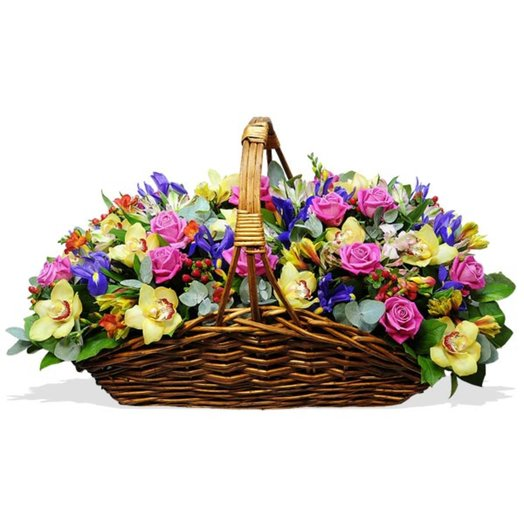 Корзина из ярких цветов Майями: букеты цветов на заказ Flowwow